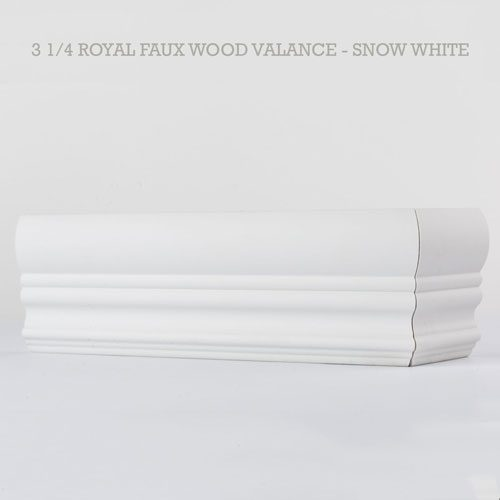 Royal faux wood blind valance snow white
