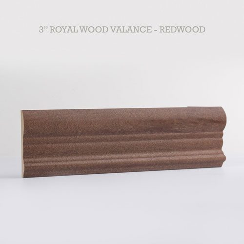 royal wood blind valance redwood