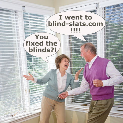 mature couple dancing in a room after blind repair with slats and valances